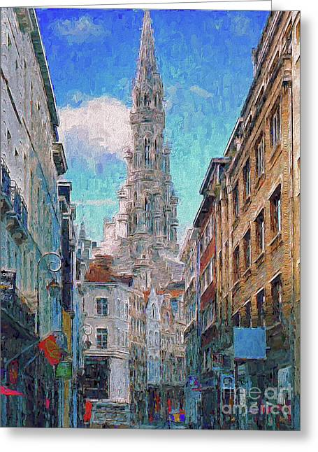 In-spired  Street Scene Brussels Greeting Card
