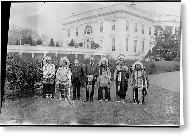Indian Chiefs With President Harding Greeting Card