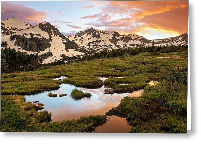 Indian Peaks Sunset Greeting Card by Aaron Spong