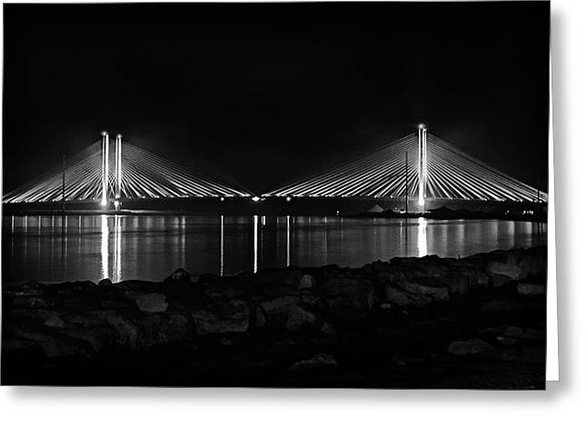 Indian River Bridge After Dark In Black And White Greeting Card