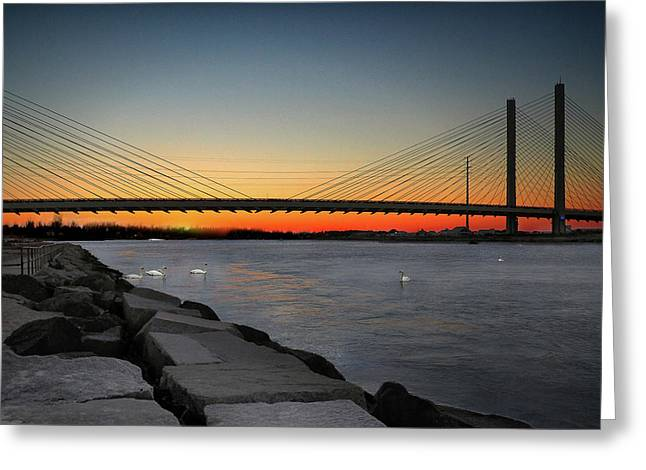 Greeting Card featuring the photograph Indian River Bridge Over Swan Lake by Bill Swartwout Fine Art Photography