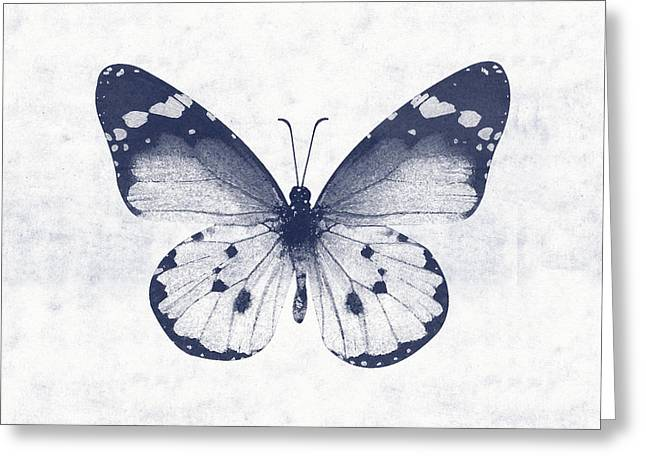 Indigo And White Butterfly 1- Art By Linda Woods Greeting Card