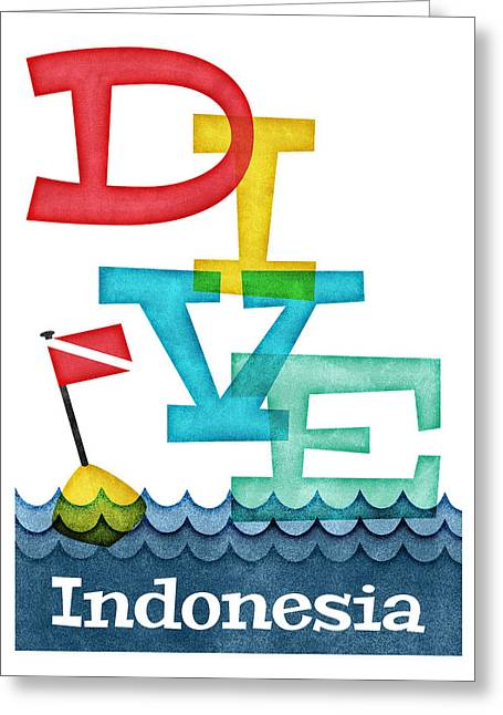 Indonesia Dive - Colorful Scuba Greeting Card