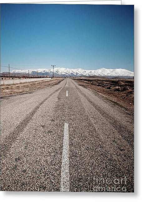 infinit road in Turkish landscapes Greeting Card