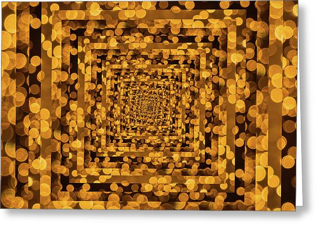 Infinity Tunnel Yellow Dots Greeting Card