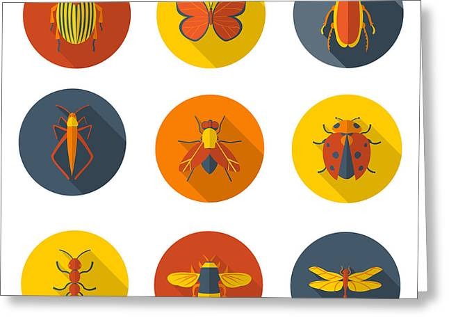 Insects Flat Icons Greeting Card