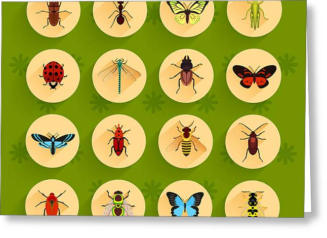 Insects Round Button Flat Icons Set Greeting Card