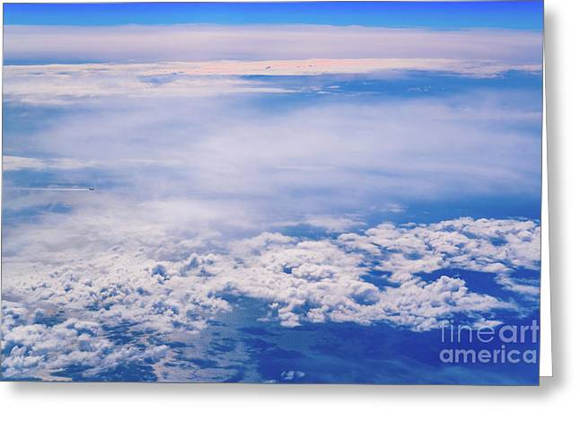 Intense Blue Sky With White Clouds And Plane Crossing It, Seen From Above In Another Plane. Greeting Card