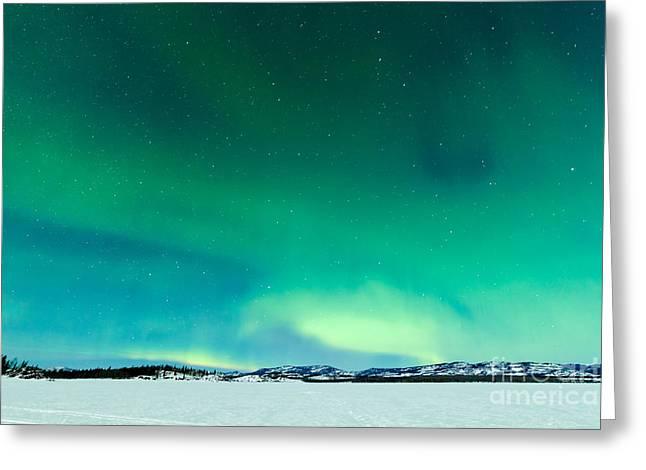 Intense Northern Lights Or Aurora Greeting Card