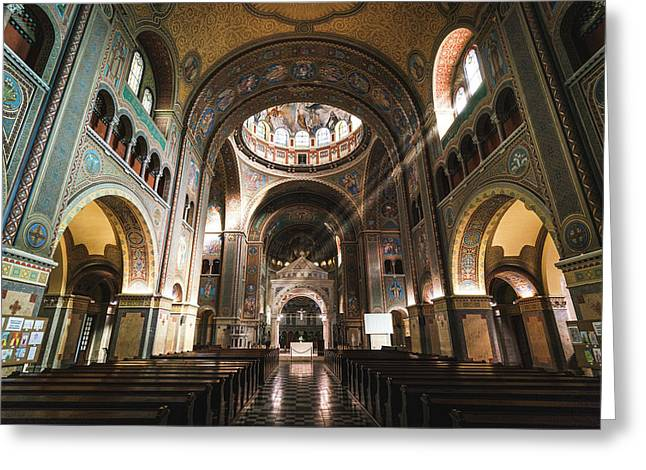 Interior Of The Votive Cathedral, Szeged, Hungary Greeting Card