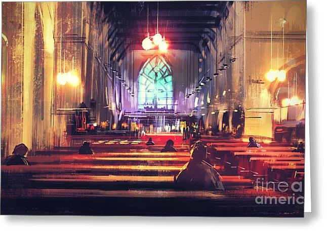 Interior View Of A Church,digital Greeting Card