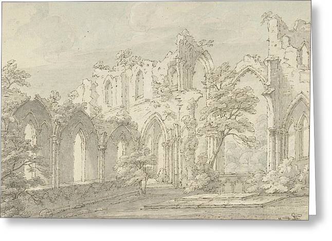 Interior View Of Fountains Abbey, Yorkshire Greeting Card