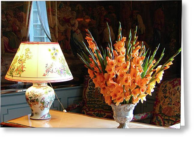 Greeting Card featuring the photograph Interior With Antique Chinese Lamp And Vase With Orange Gladiolus by Cristina Stefan