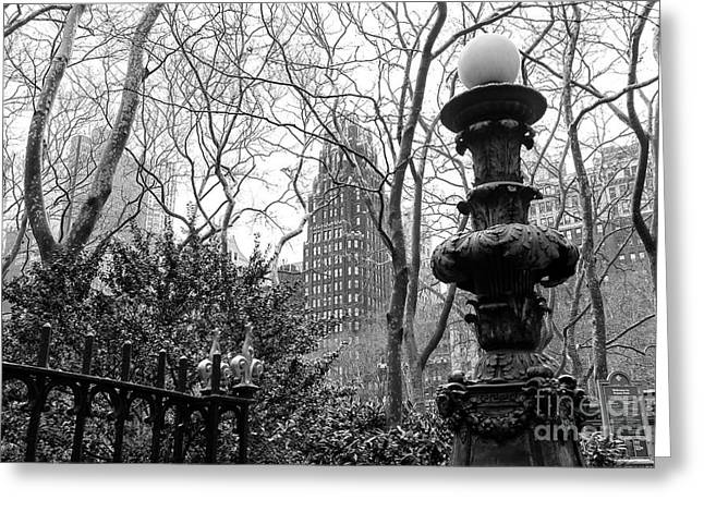 Into Bryant Park New York City Greeting Card
