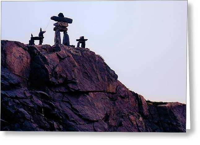 Greeting Card featuring the photograph Inukshuk Family In Labrador, Canada by Tatiana Travelways