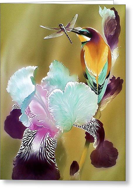 Iris And Bee-eater Bird With Dragonfly Greeting Card