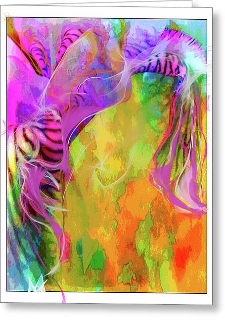 Greeting Card featuring the digital art Iris Psychedelic  by Cindy Greenstein