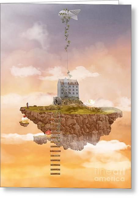 Island In The Sky. Illusion Greeting Card