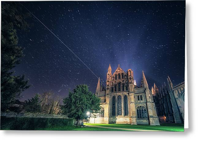 Iss Over Ely Cathedral Greeting Card
