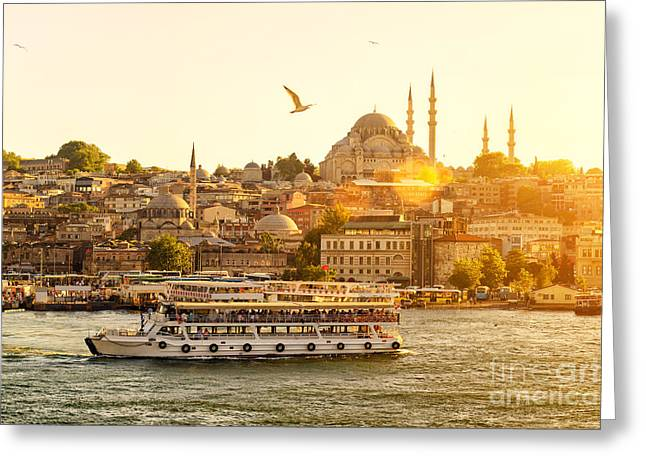 Istanbul At Sunset, Turkey. Tourist Greeting Card