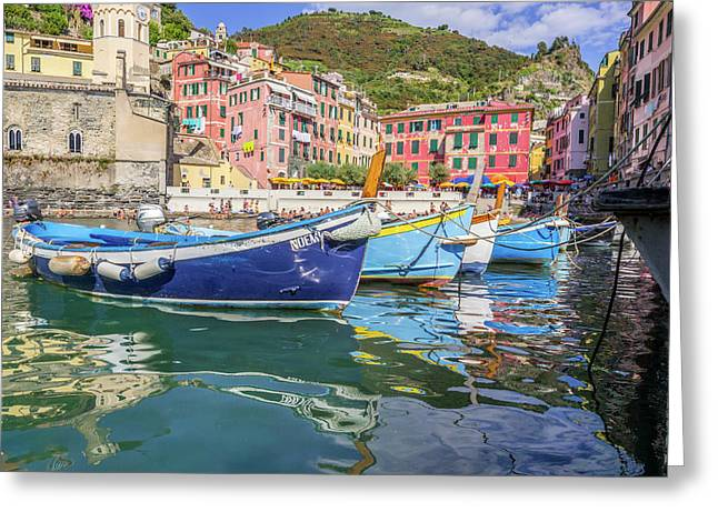 Italian Riviera Old Fashion Fishing Greeting Card by Guy Midkiff