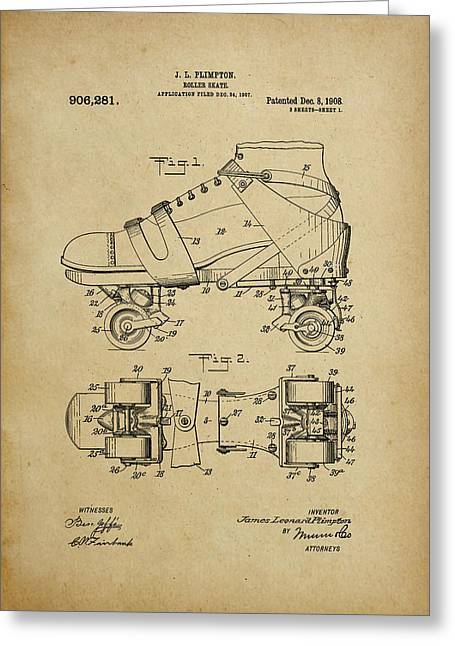 J. L. Plimpton, Roller Skate, Patented Dec.8,1908. Greeting Card
