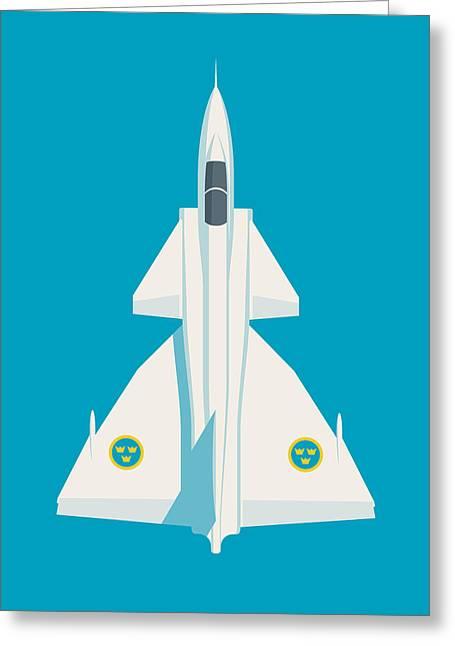 J37 Viggen Swedish Air Force Fighter Jet Aircraft - Blue Greeting Card
