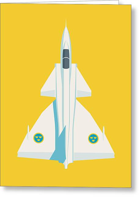 J37 Viggen Swedish Air Force Fighter Jet Aircraft - Yellow Greeting Card