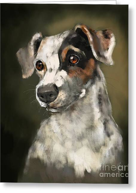 Greeting Card featuring the painting Jack Russell Terrier by Lora Serra