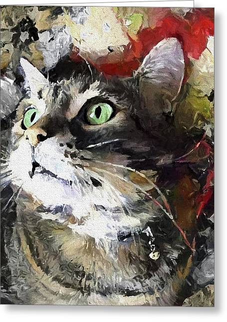 Jack The Green Eyed Manx Cat Greeting Card