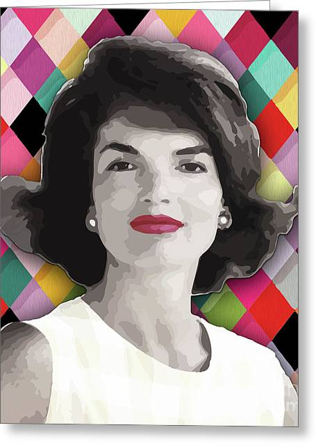 Greeting Card featuring the painting Jackie Geometric by Carla B