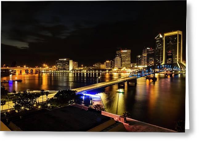 Jacksonville Skyline By Night Greeting Card