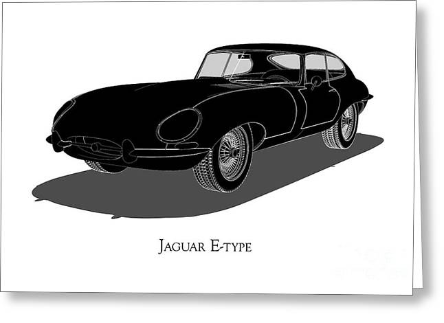 Jaguar E-type - Front View Greeting Card
