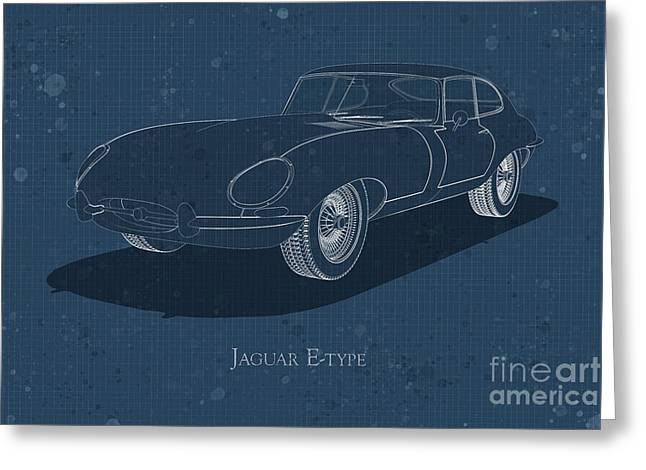 Jaguar E-type - Front View - Stained Blueprint Greeting Card