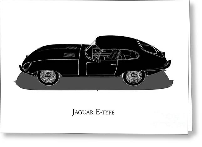 Jaguar E-type - Side View Greeting Card
