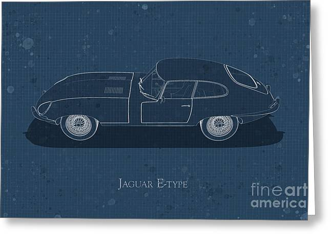 Jaguar E-type - Side View - Stained Blueprint Greeting Card