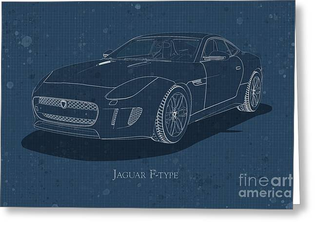 Jaguar F-type - Front View - Stained Blueprint Greeting Card