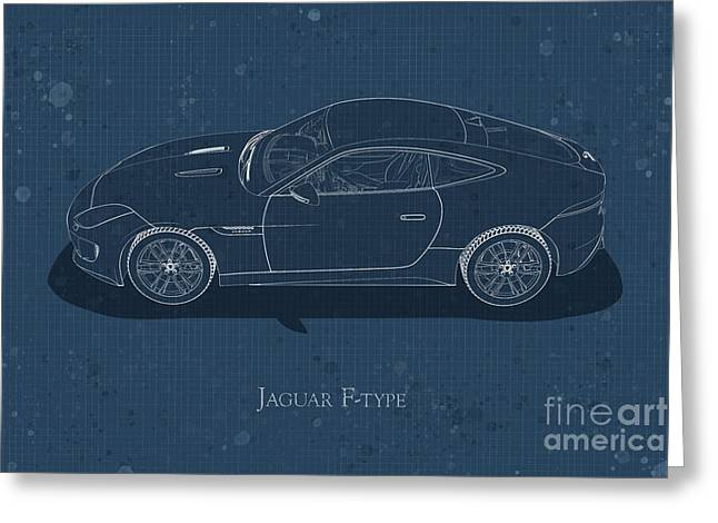 Jaguar F-type - Side View - Stained Blueprint Greeting Card