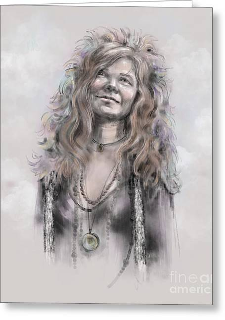 Greeting Card featuring the mixed media Janis Joplin by Lora Serra