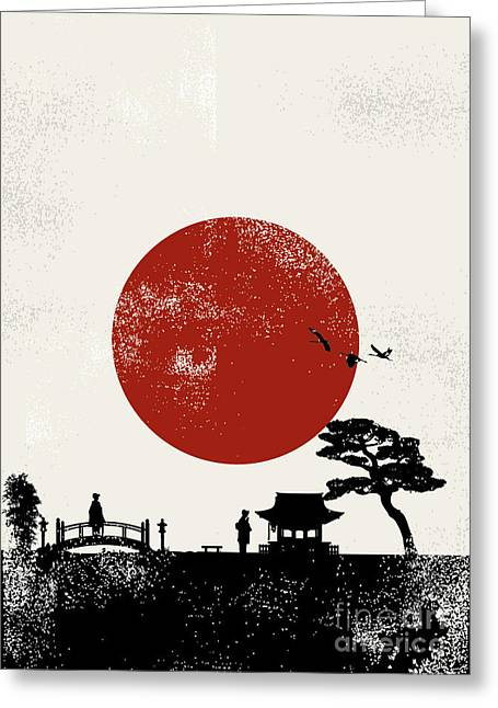 Japan Scenery Poster, Vector Greeting Card