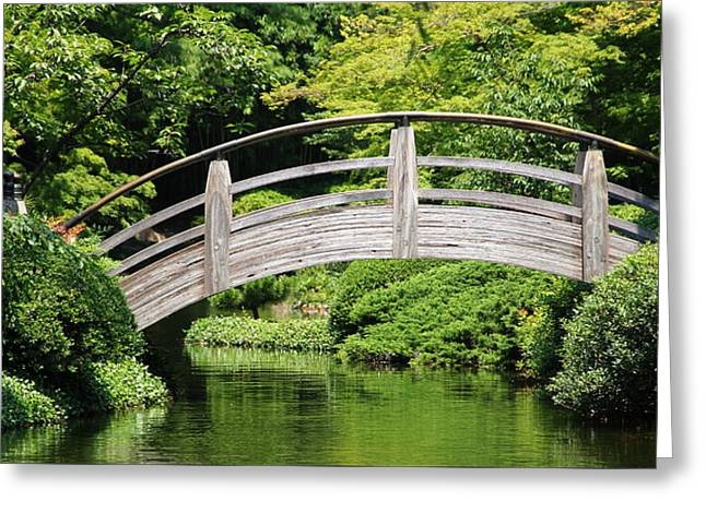 Japanese Garden Arch Bridge In Springtime Greeting Card