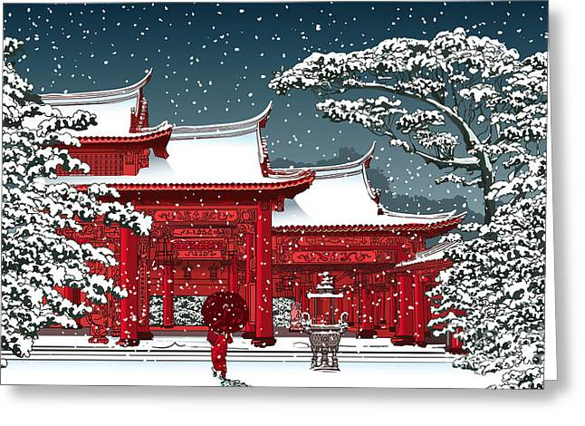 Japanese Or Chinese Temple Under Snow - Greeting Card