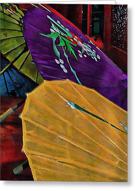 Greeting Card featuring the photograph Japanese Parasol Harmony by Dorothy Berry-Lound