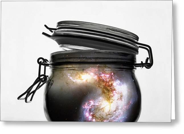 Jar Of Galaxy Greeting Card