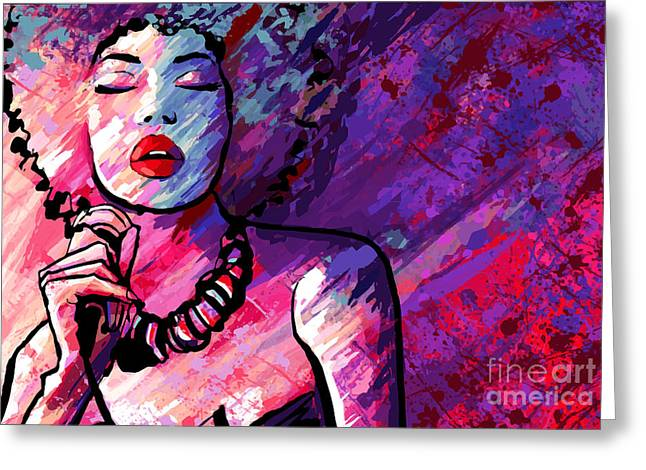 Jazz Singer With Microphone On Grunge Greeting Card