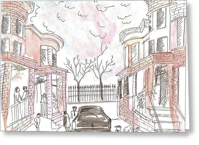 Jersey City Neighbourhood Greeting Card by Remy Francis