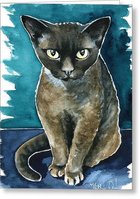 Joey - Devon Rex Cat Painting Greeting Card
