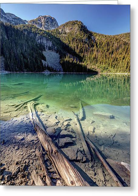 Greeting Card featuring the photograph Joffre Lake Middle On A Calm Sunny Morning by Pierre Leclerc Photography