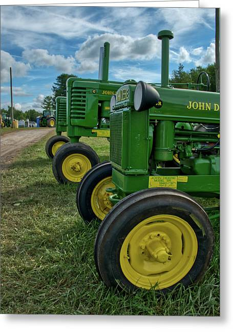 Greeting Card featuring the photograph John Deer's In A Line by Mark Dodd