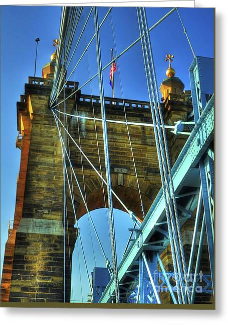 Greeting Card featuring the photograph John Roebling's Historic Cincinnati Suspension Bridge by Mel Steinhauer